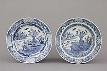 A pair of Chinese porcelain blue and white plates with landscape decoration, 18th C.