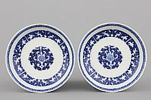 A pair of Chinese taste blue and white porcelain plates, probably Guangxu