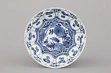 A Chinese porcelain blue and white Ming dynasty Wan-Li plate with a cricket 16th C.