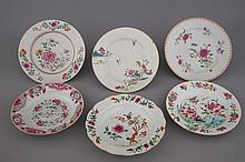 A collection of 6 Chinese famille rose porcelain plates, 18th C.