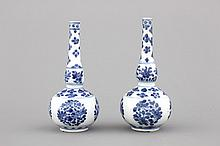 A pair of Chinese porcelain blue and white water sprinklers, Kangxi