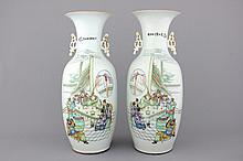 A pair of Chinese porcelain vases with palace interior scenes, 19/20th C.