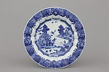 A Chinese export porcelain blue and white lobed dish