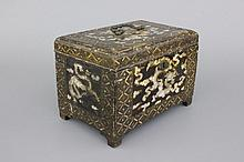 An Indo-Portuguese or Japanese mother of pearl and lacquer coffer, 19th C.