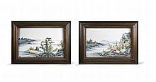A pair of Chinese porcelain plaques with fine landscape painting, 19th C.