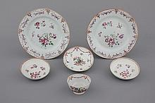 A set of Chinese porcelain famille rose plates and tea-sets, 18th C.