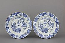 A pair of Chinese porcelain blue and white chargers, 18th C.