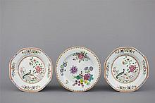 A set of 3 Chinese porcelain famille rose plates, Qianlong, 18th C.
