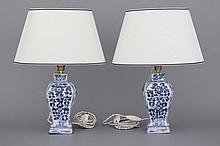 A pair of Chinese porcelain blue and white vases mounted as lamps, Kangxi, 18th C.