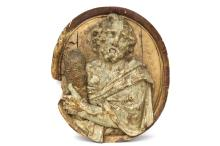 A carved wood oval panel depicting Judas Thadeus, early 17th C., Antwerp (?)