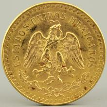 A gold coin, 50 Pesos Estados Unidos Mexicanos, 1821-1947