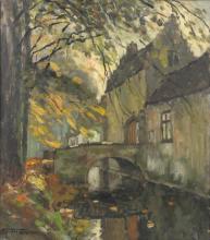Leon van der Smissen (1900-1966), A view on the Rooigem Castle entrance, Bruges