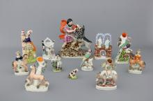 A large collection of English Staffordshire figures, 18/19th C.