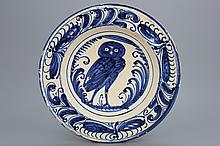 A blue and white Spanish Puente del Arzobispo plate with an owl, 1575-1600