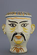 An Italian Caltagirone drug jar in the shape of a Chinese man's head, Sicily, 18th C.