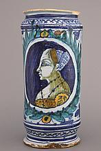 A polychrome Italian Faenza albarello with a female portrait, 15th C.