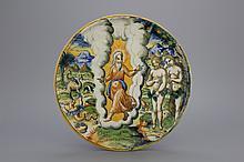 An Italian maiolica Urbino tazza ca. 1580 showing the expulsion from The Garden of Eden