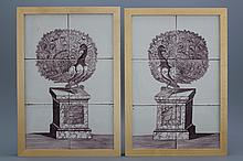 A pair of manganese Dutch Delft tile panels with peacocks, 18th C.