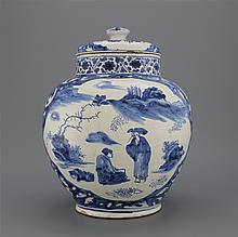 A very early blue and white Delftware but probably Haarlem maiolica chinoiserie jar and cover ca. 1630