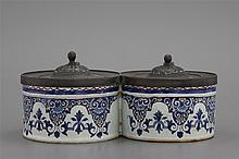 A French Rouen faience pewter-mounted inkwell, 18th C.