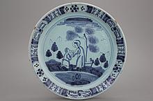 A blue ground Nürnberg biblical plate, 18th C.