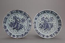 A pair of blue ground Nürnberg plates, 18th C.