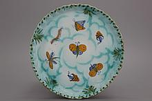 A Brussels faience butterfly plate, 18th C.