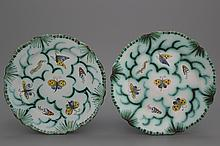 A pair of Brussels faience butterfly plates, 18th C.