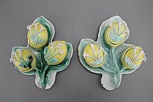 A pair of German faience tri-lobed spice boxes modelled as water lilies, 18th C.
