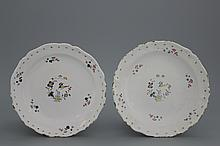 A pair of lobed Brussels faience