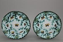 A pair of lobed Brussels faience butterfly plates, 18th C.