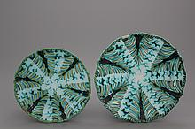 Two lobed Brussels faience plates with leaf patterns, 18th C.