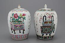 A set of 2 Chinese porcelain famille rose ginger jars, 19th C.