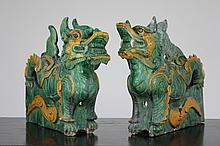 An impressive pair of sancai glazed roof tiles, possibly Ming dynasty
