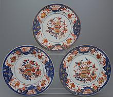 A set of 3 Chinese porcelain Imari plates, 18th C.