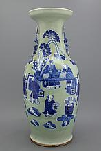 A fine large Chinese porcelain celadon ground vase, 19th C.
