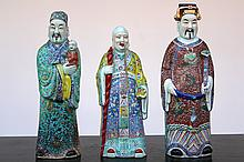 A set of 3 Chinese porcelain figures of immortals, 19th C.