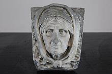 A plaster cast of a woman's head, workshop De Wispelaere, Bruges, 1st half 20th C.