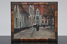 Lionel Poupaert (1900-1989), Beguins in the Bruges Beguinage, oil on board dated 1917
