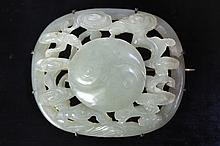 A Chinese nephrite jade carved brooch, possibly Ming dynasty