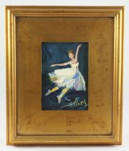 Signed Oil on Board Painting, Ballerina