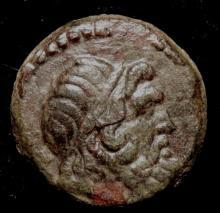 Rare Greek Bronze Coin, Zeus ( 450 BC - 100 AD )