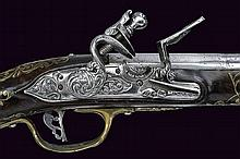 A brass mounted flintlock pistol Smooth Barrel