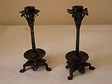 Pair of Aesthetic Style Bronze Candlesticks