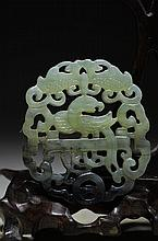 Chinese Jade Carved hollowed out bird pendant