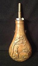 Antique Copper Power Flask Depicting Hunt Scene