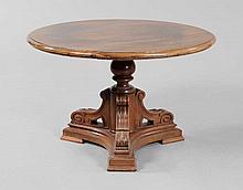 Walnut Pedestal Table, Continental.
