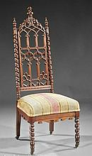 American Gothic Revival Carved Walnut Hall Chair.