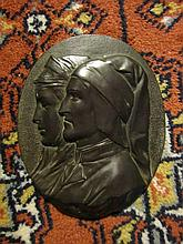 Bronze Plaque Depicting a Renaissance Couple.