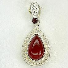 15.45Ct. Orange Carnlian-Mozambique Garnet Pendant